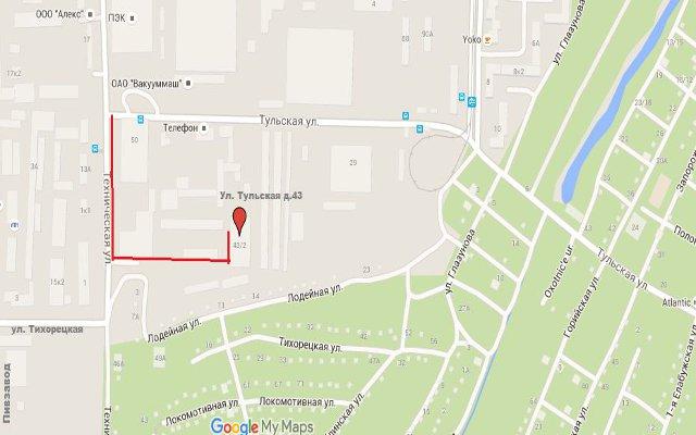 Местоположение цеха на карте Казани